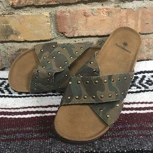 Camo Sandals NWOT